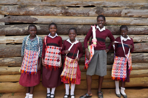 Girls from Empowerment Program Displaying Crafts