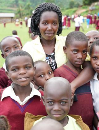 Girls from Empowerment Program with their Teacher