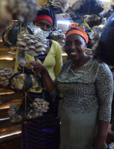 Two Women From Cooperative Growing Mushrooms