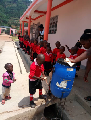 Teaching Hygiene - Rukundo Preparatory School
